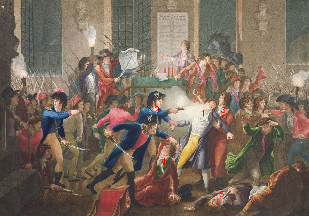 Grabado en color de Harriet que ilustra la versión de que Robespierre fue herido por el disparo de un gendarme.