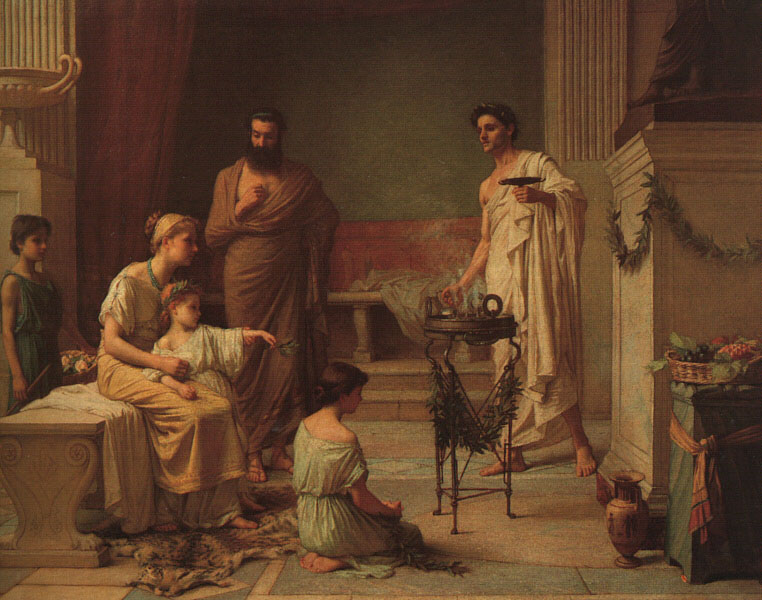 'A Sick Child Brought Into The Temple Of Aesculapius' by John William Waterhouse [Public Domain]