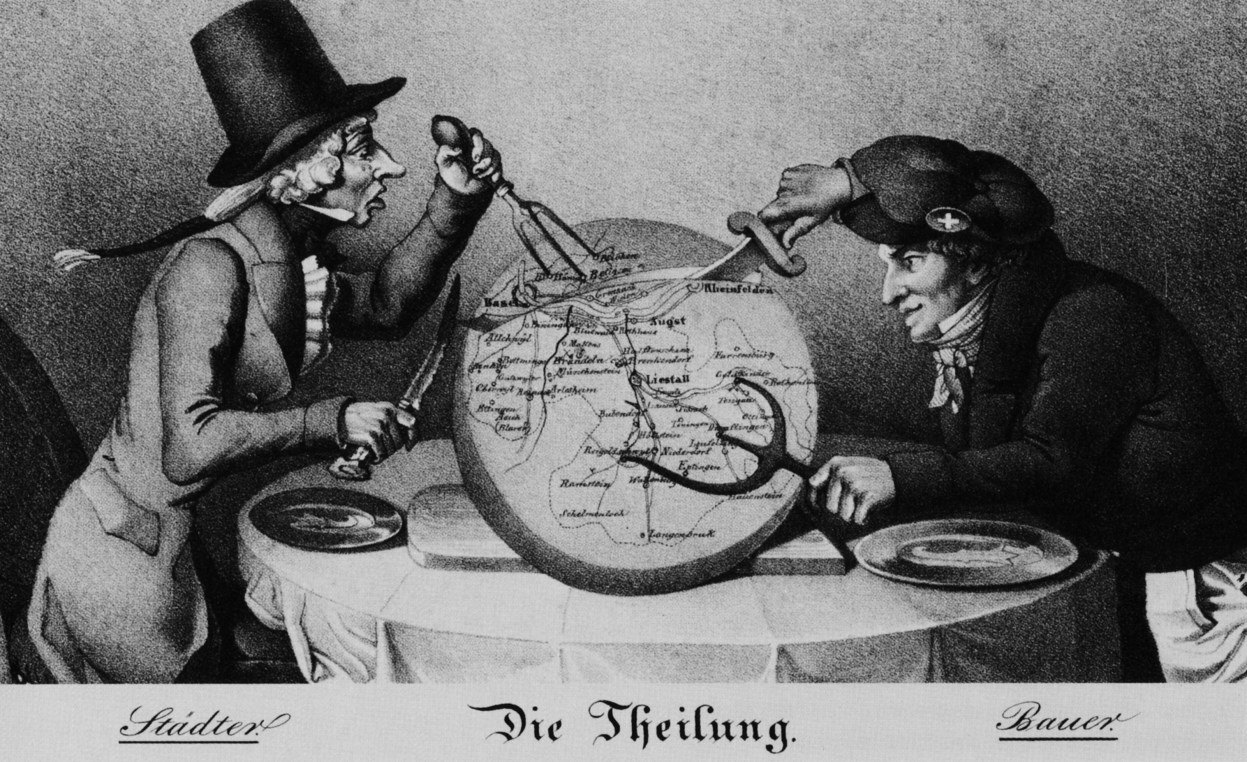 Caricature of the division of Basel, 1833
