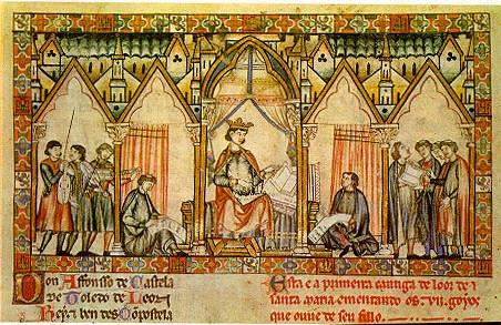 Representación de Alfonso X y su corte.