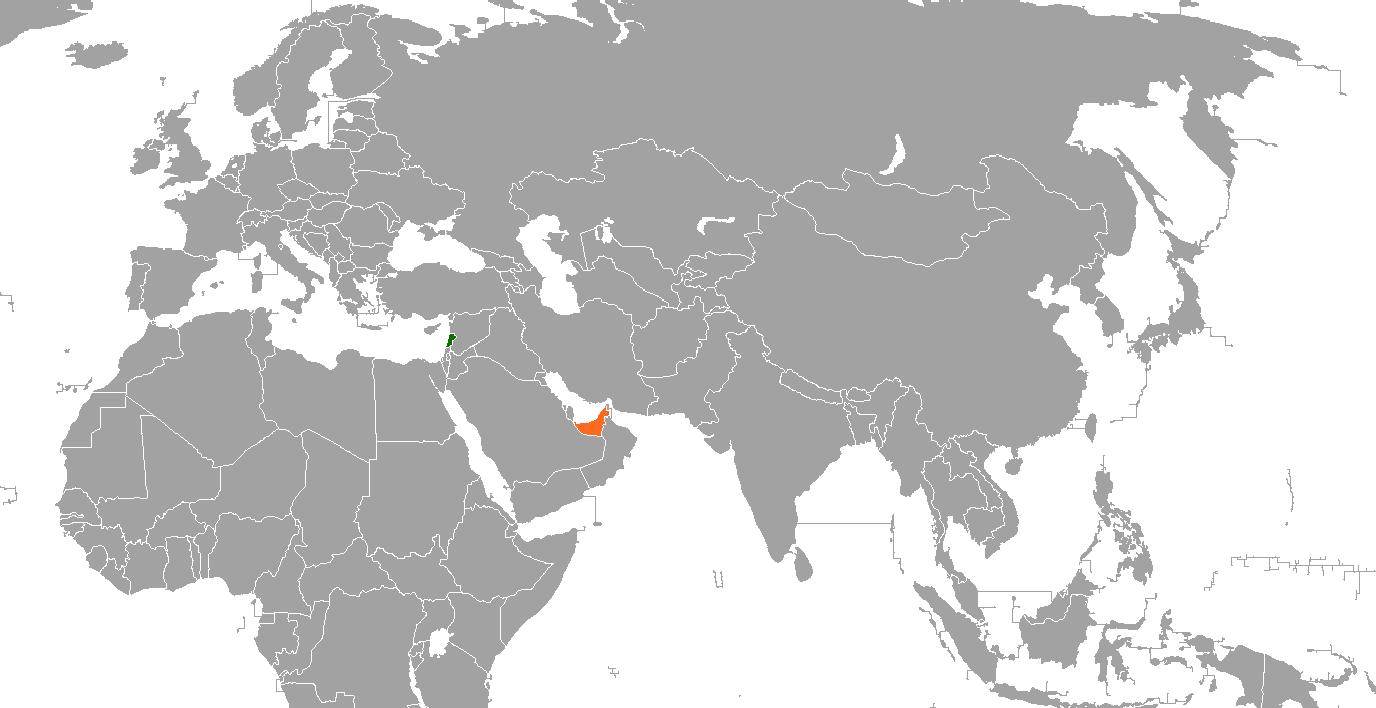 Lebanon–United Arab Emirates relations - Wikipedia on jordan world map, middle east map, persian gulf map, uzbekistan world map, norway world map, bahrain world map, china world map, pakistan world map, sierra leone world map, sudan world map, cyprus world map, slovakia world map, uganda world map, afghanistan world map, kuwait world map, arabian sea world map, iraq world map, cambodia world map, austria world map, guatemala world map,