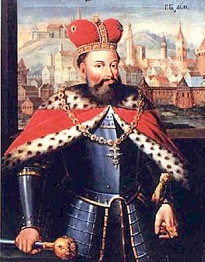A 17th century portrait depicting Knyaz Lev of Galicia-Volhynia with the city of Lviv in the background Lev Danylovich of Halych.PNG