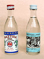 Bottles of Chios mastiha alcoholic beverages: Mastiha Ouzo (left) and Mastiha Liqueur (right).