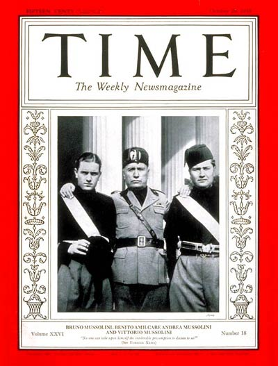 Mussolini and sons Time cover 1935