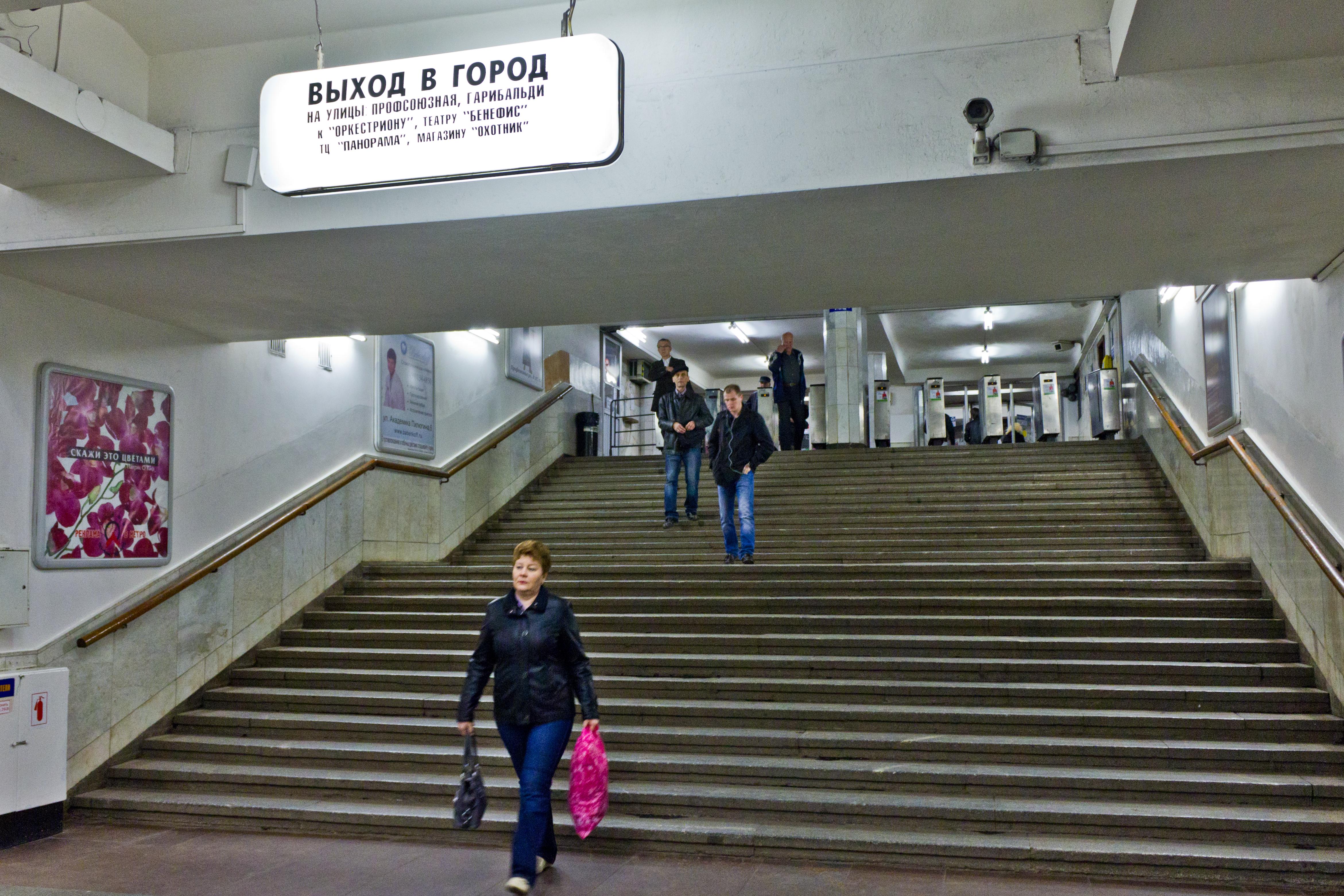 Noviye Cheryomushki Moscow Metro station before renovation works.jpg English: Noviye Cheryomushki Moscow Metro station. Date Source Own work