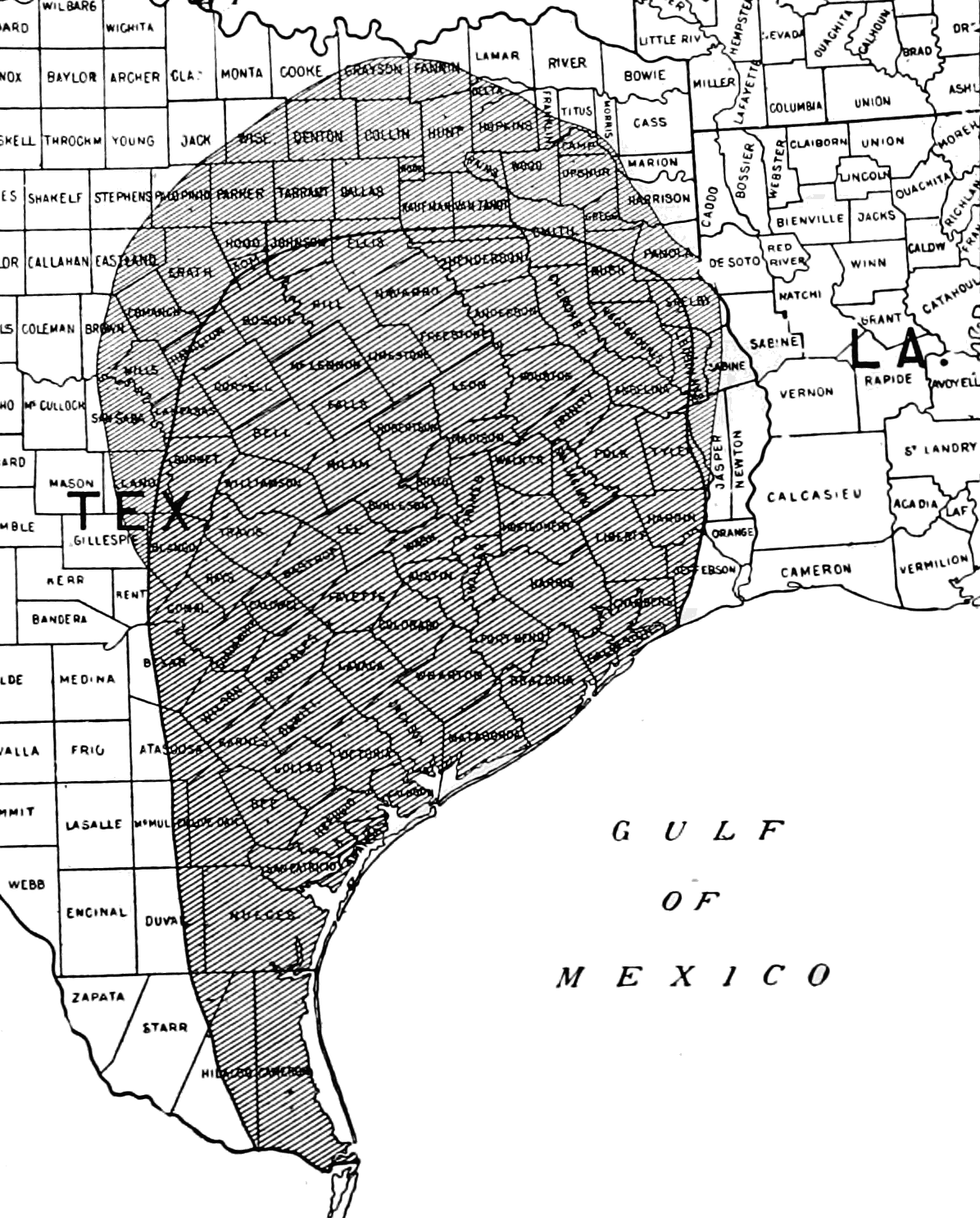 PSM V65 D193 Distribution of the cotton boll weevil in the usa in 1903.png