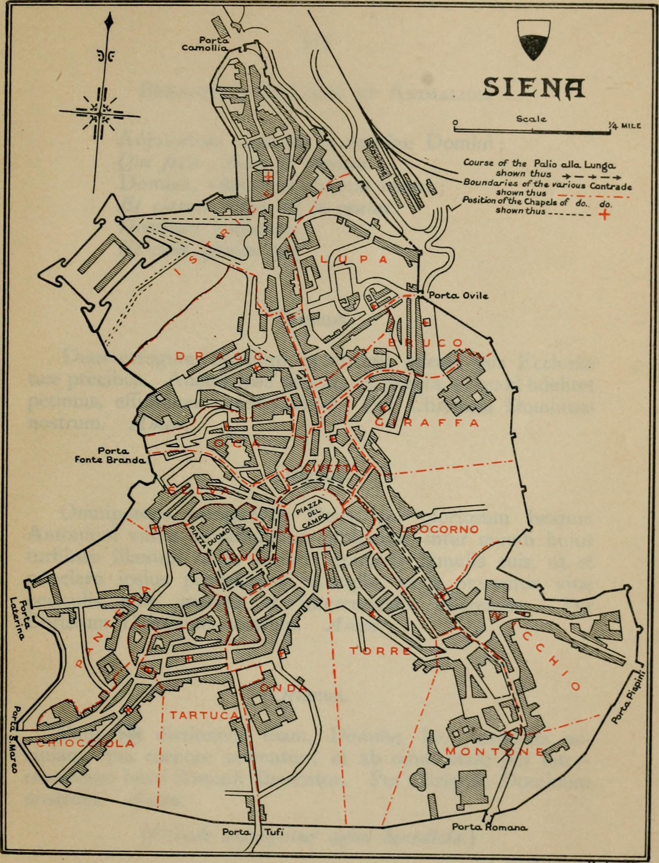 Siena, Palio, mappa delle contrade 1904