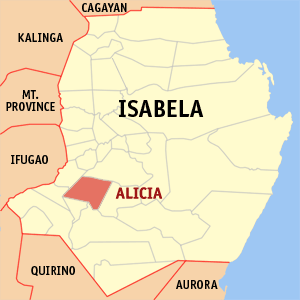 Map of Isabela showing the location of Alicia