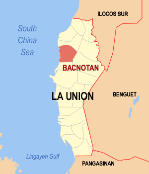 Map of La Union showing the location of Bacnotan
