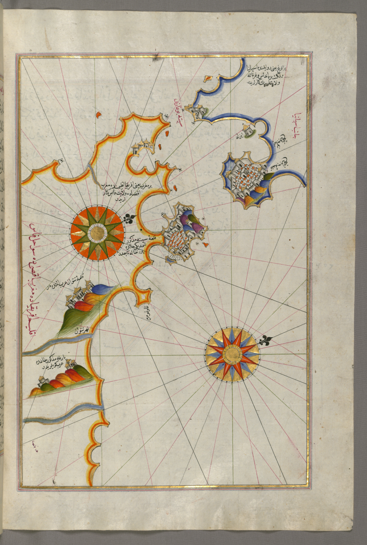 File:Piri Reis - Map of Southern Spain and Morocco with the Cities ...