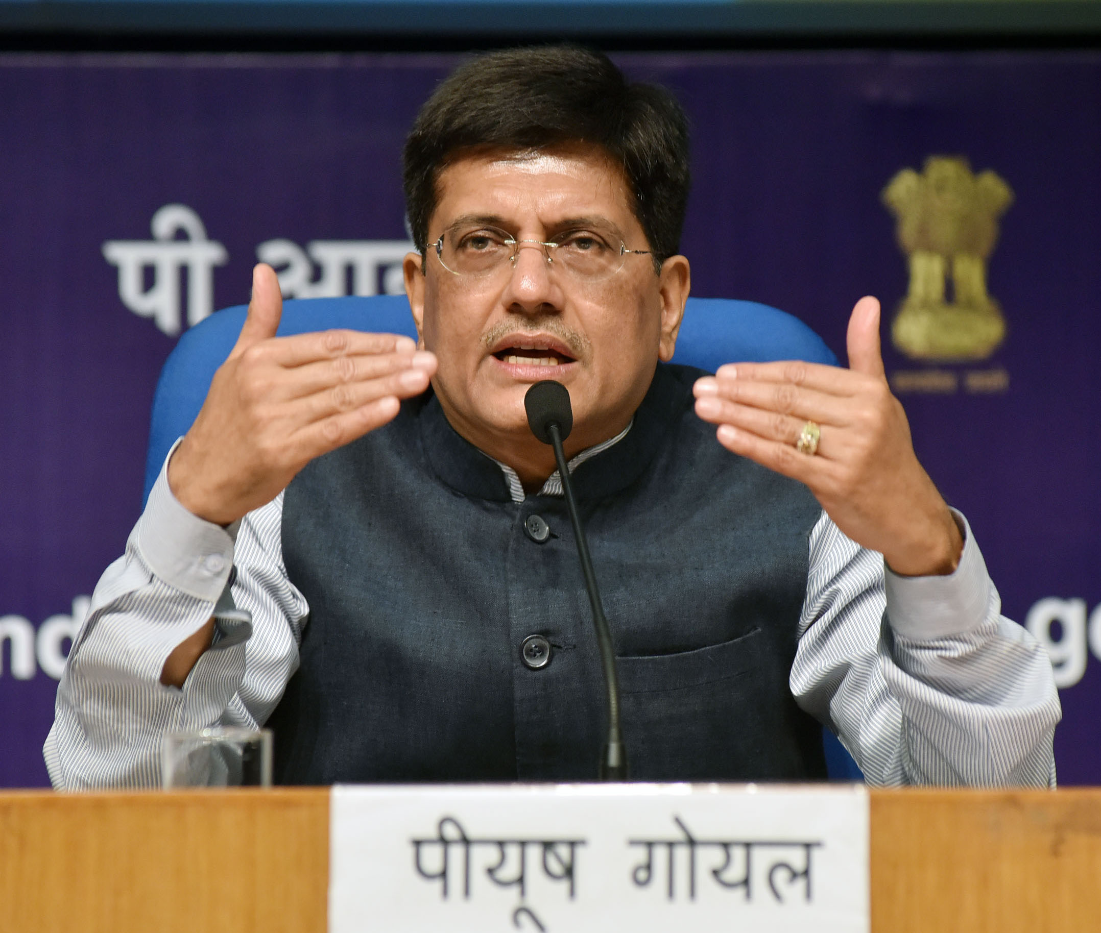 Piyush Goyal addressing a Press Conference on the achievements of his Ministries during 3 years of NDA Government%2C in New Delhi