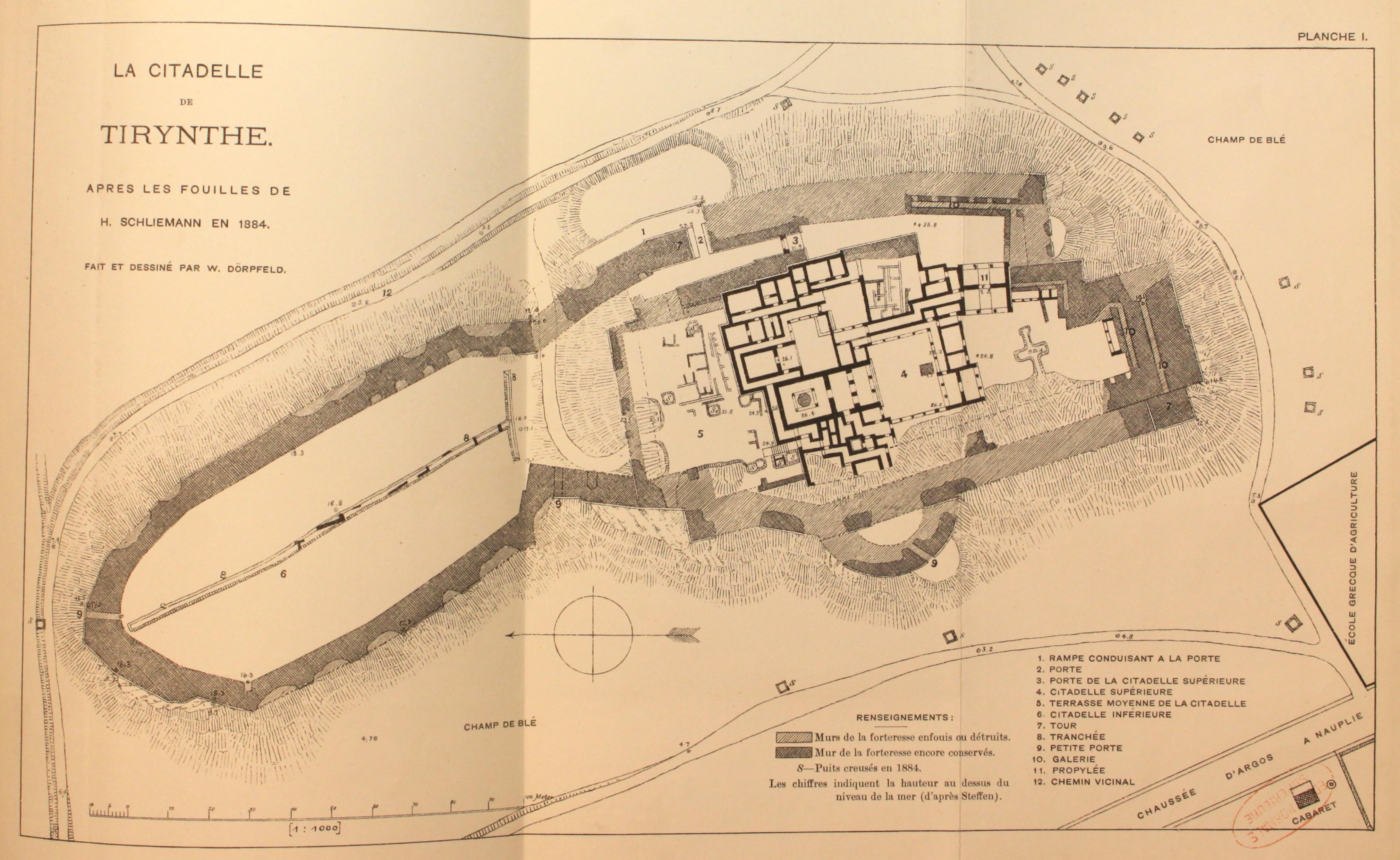 Héraclès - Page 4 Plan_citadelle_Tirynthe_d'apr%C3%A8s_fouilles_de_Schliemann_en_1884