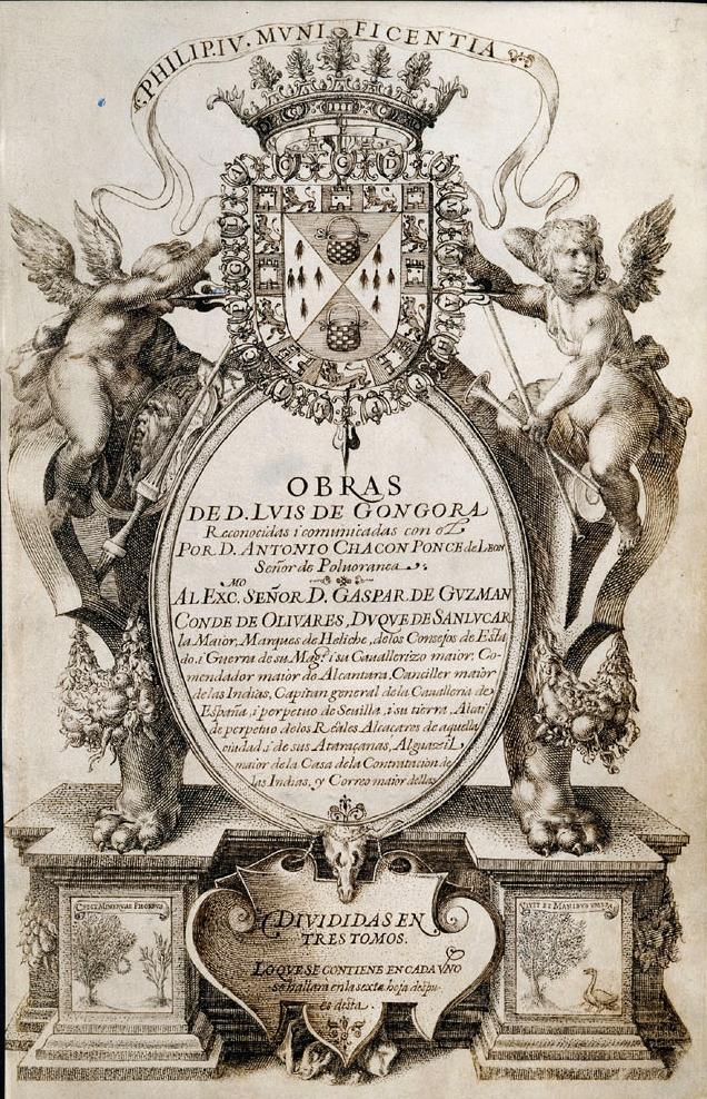 Portada del Manuscrito Chacón, que transmitió la obra poética de Luis de Góngora.