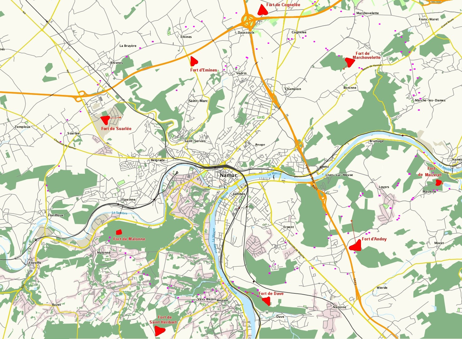 The nine forts surrounding the city of Namur