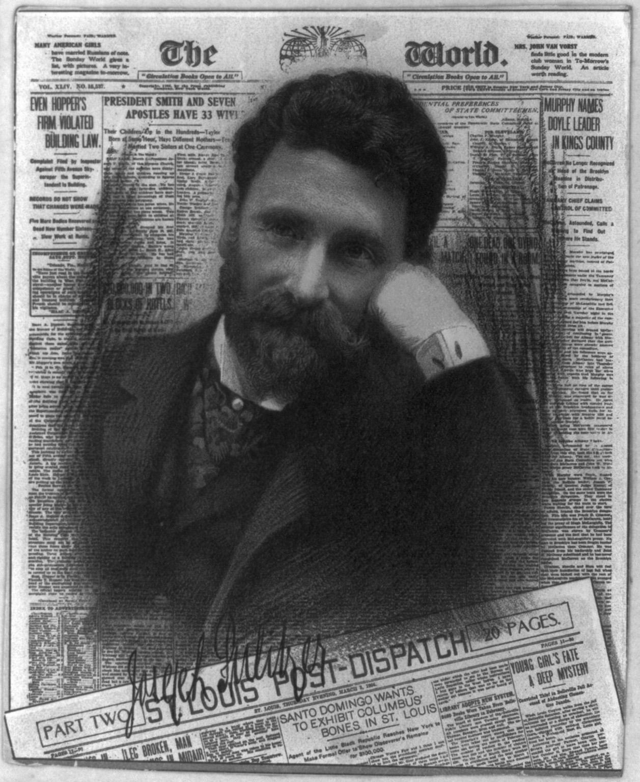 Cromolitografia di Joseph Pulitzer sovrapposta alla composizione di alcuni suoi giornali