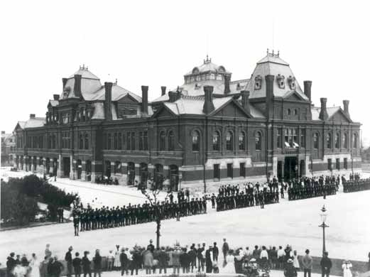 Pullman Workers on Strike outside Arcade Building 1894