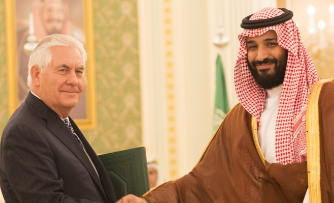 Rex Tillerson shakes hands with Deputy Crown Prince Mohammad bin Salman Al Saud cropped.jpg