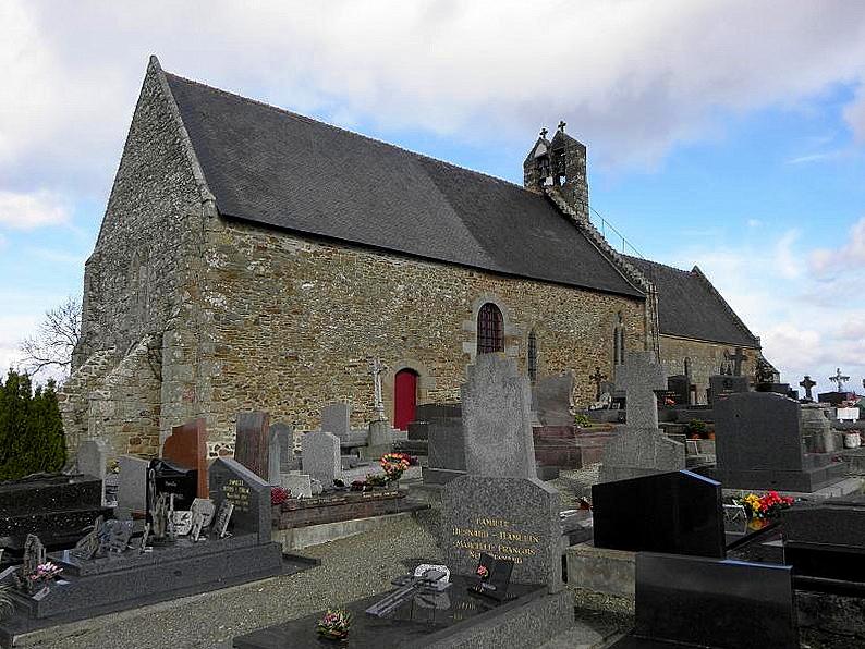 Église Saint-Georges de Saint-Georges-de-Gréhaigne (35). Façade ouest et flanc sud.