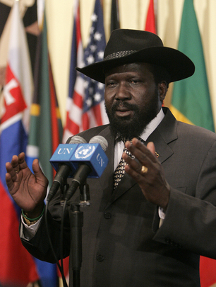Salva Kiir Mayardit, the first President of South Sudan. His trademark hat, a Stetson, was a gift from United States President George W. Bush. Salva Kiir Mayardit.jpg