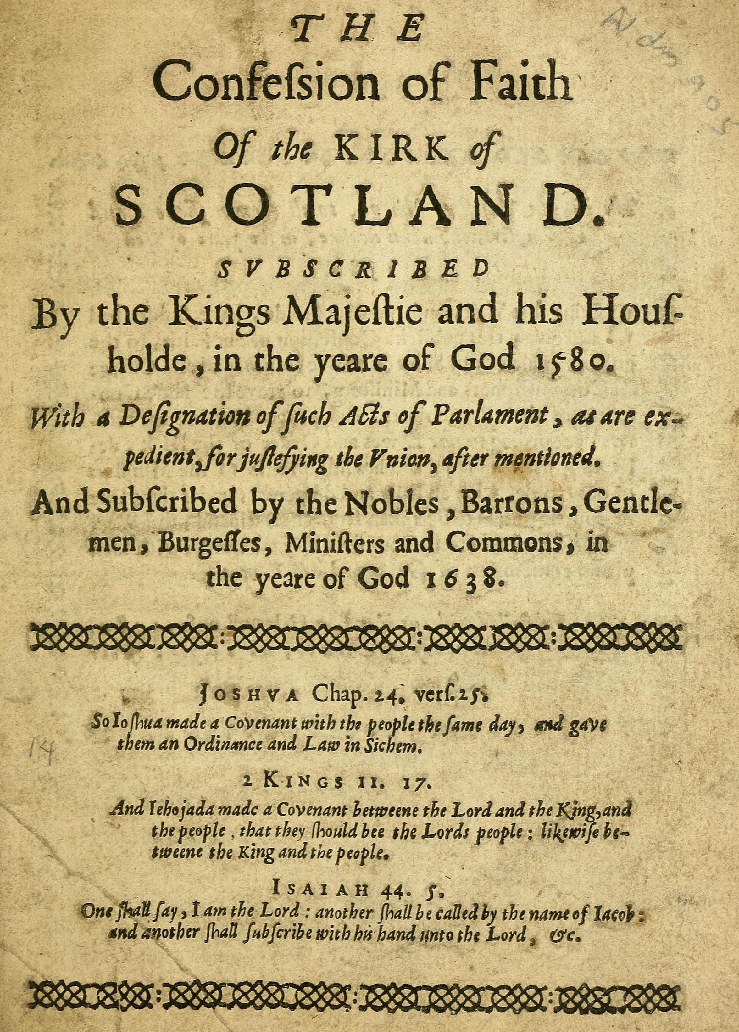 Reprint of the so-called 'Negative Confession' of 1580