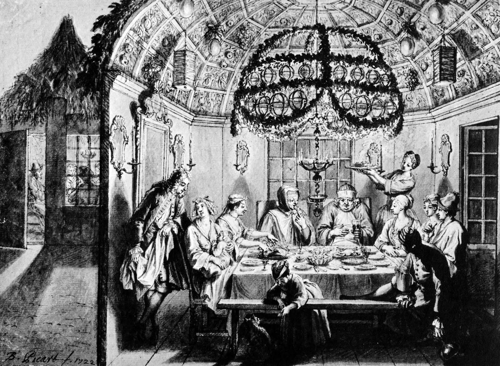 Sukkah meal Amsterdam 1922 Bernard Picart Wigoder editor Jewish Art Civilization 1972 p60-1.JPG