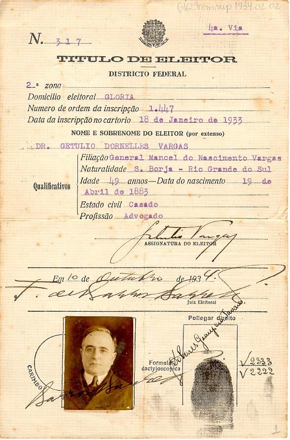 Título de eleitor de Getúlio Vargas (1933)