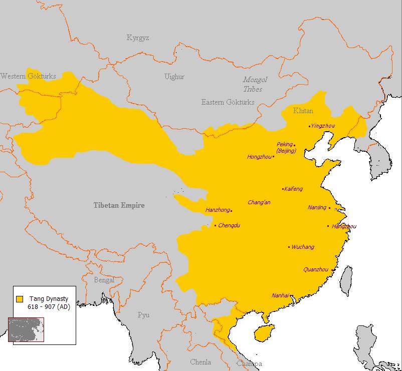 L'extension maximale de l'empire des Tang en 750, avant la terrible défaite de Talas face au armées arabo-musulmanes du califat Abbasside
