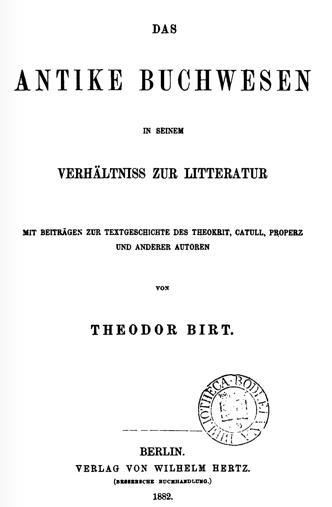 File:Theodor Birt, Buchwesen, Titlepage jpg - Wikipedia