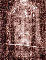 Secondo Pia's negative of his photo of the Shroud of Turin. Many Christians believe this image to be the Holy Face of Jesus. Turin plasch.jpg