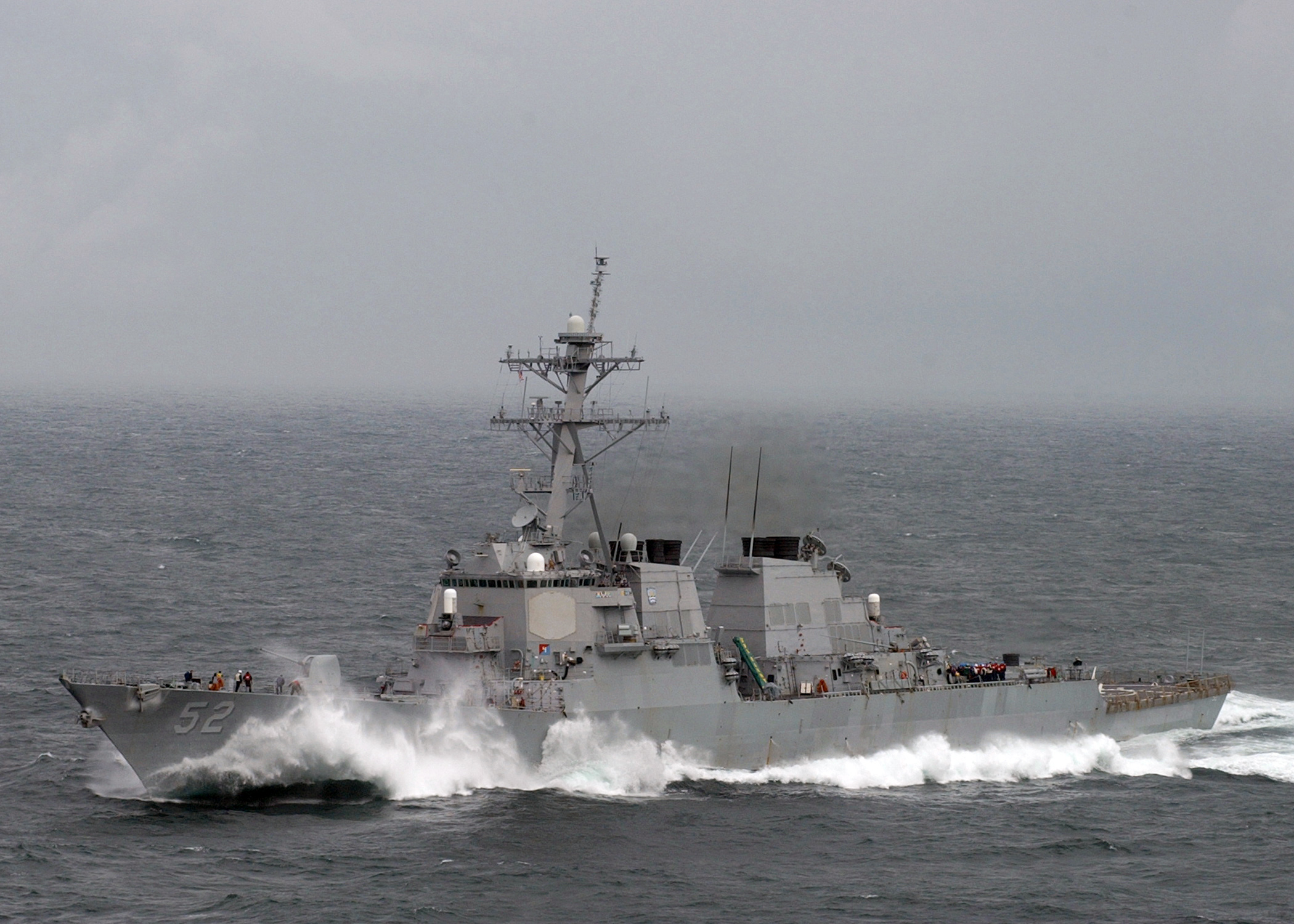 4 >> File:US Navy 050402-N-6363M-034 Waves crash over the bow of the Arleigh-Burke-class guided ...