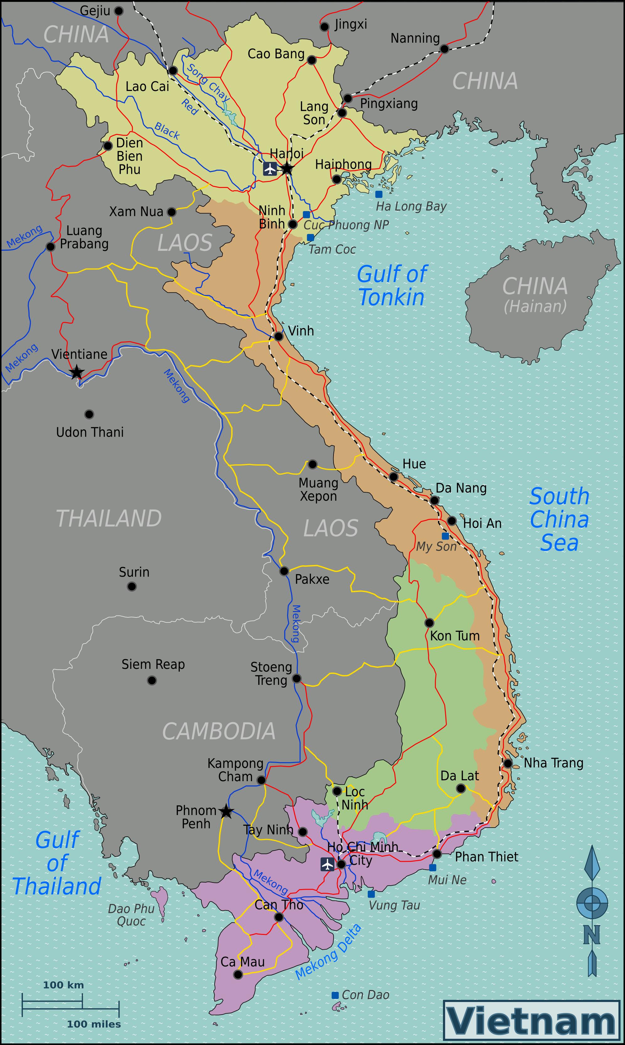 landkarte vietnam Vietnam Regionen Karte landkarte vietnam