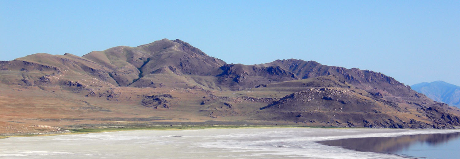 Click to view larger image of Wave-cut platforms from Lake Bonneville preserved on Antelope Island, Great Salt Lake, Utah., Photo Courtesy Wikimedia, Mark A. Wilson (Department of Geology, The College of Wooster), Photographer