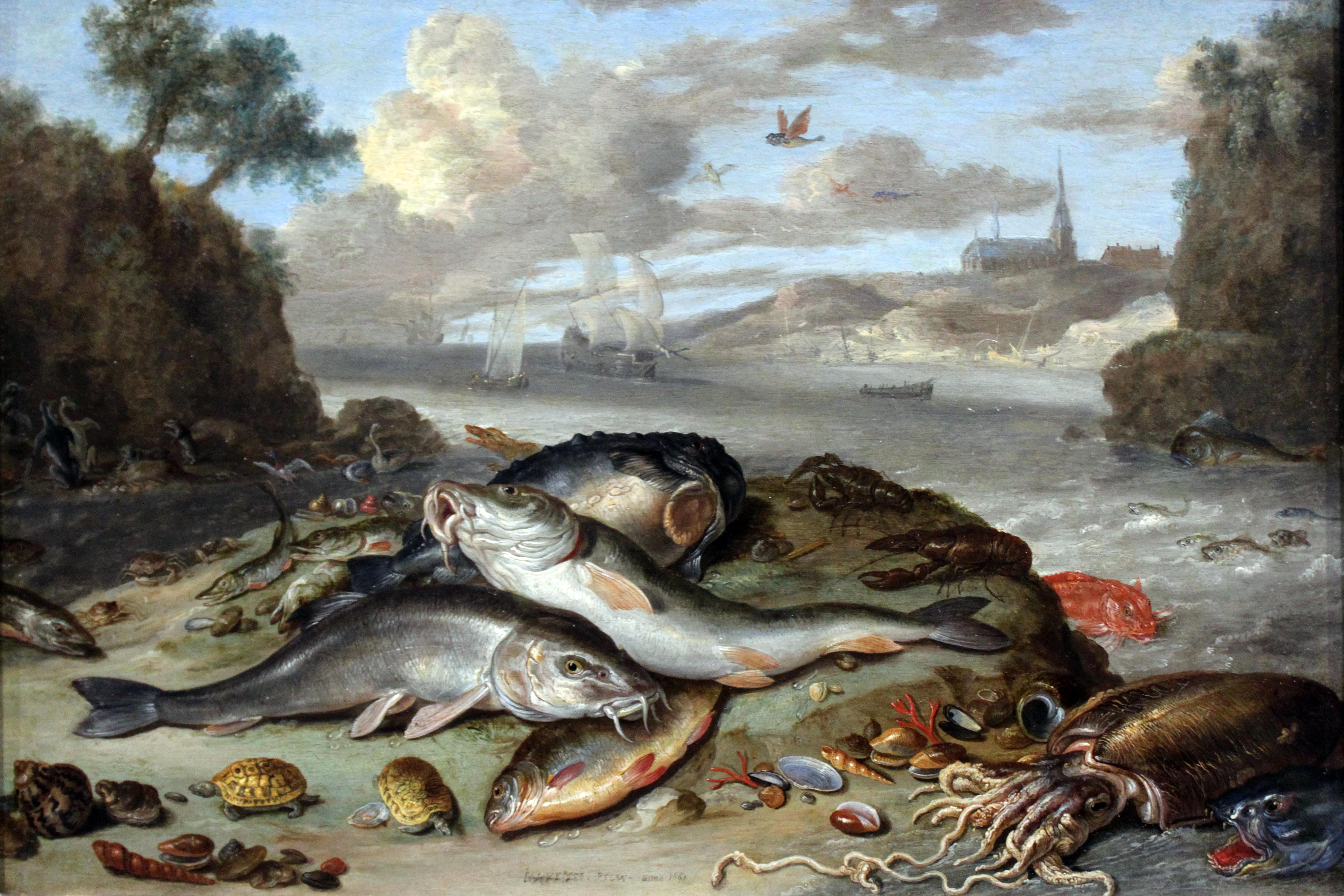 File:1661 van Kessel Stilleben mit Fischen und Meeresgetier anagoria ...