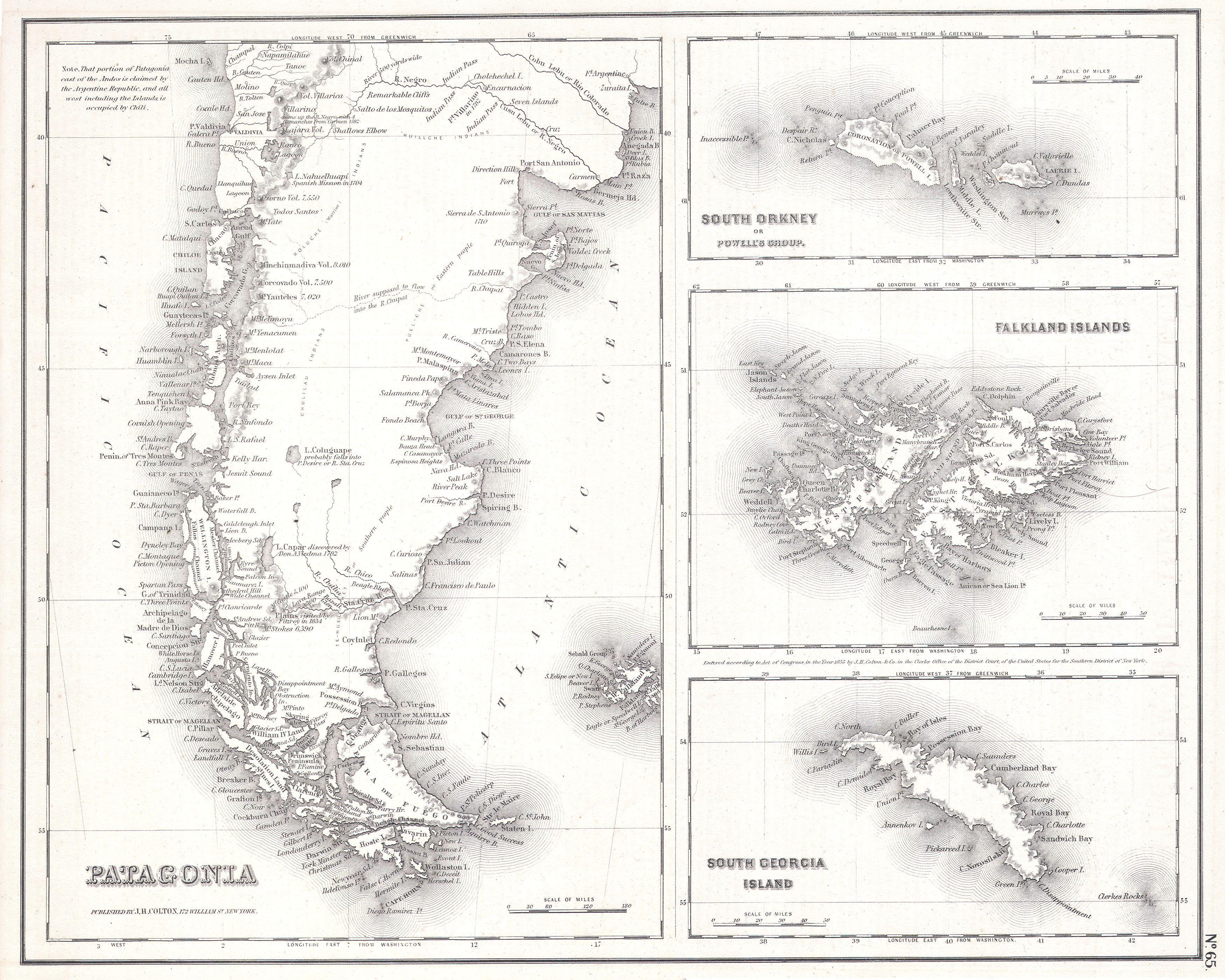 File 1855 Map Of Patagonia Argentina Falkland Islands