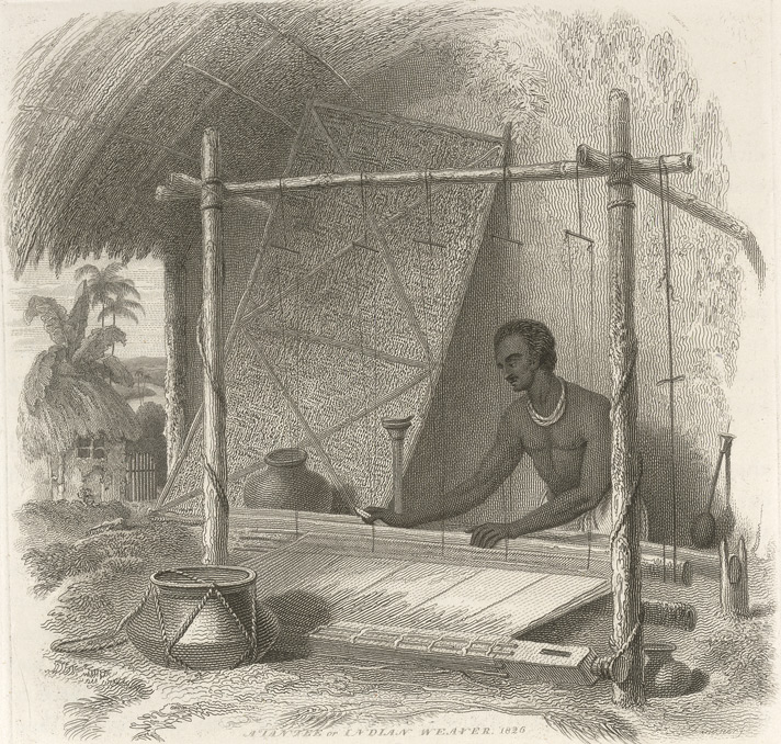 Muslin weaving in Dacca. Photo credit: Charles D'Oyly, The British Library Online Gallery/Wikimedia commons [Public Domain].