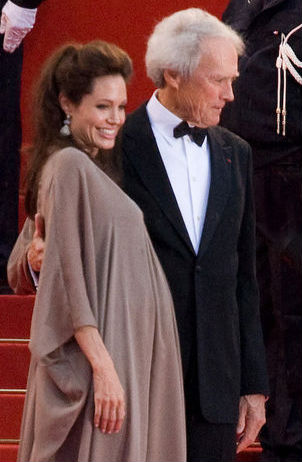 Eastwood and actress Angelina Jolie on the red carpet of the 2008 Cannes Film Festival for their film Changeling AngelinaJolieClintEastwoodCroppedMay08.jpg