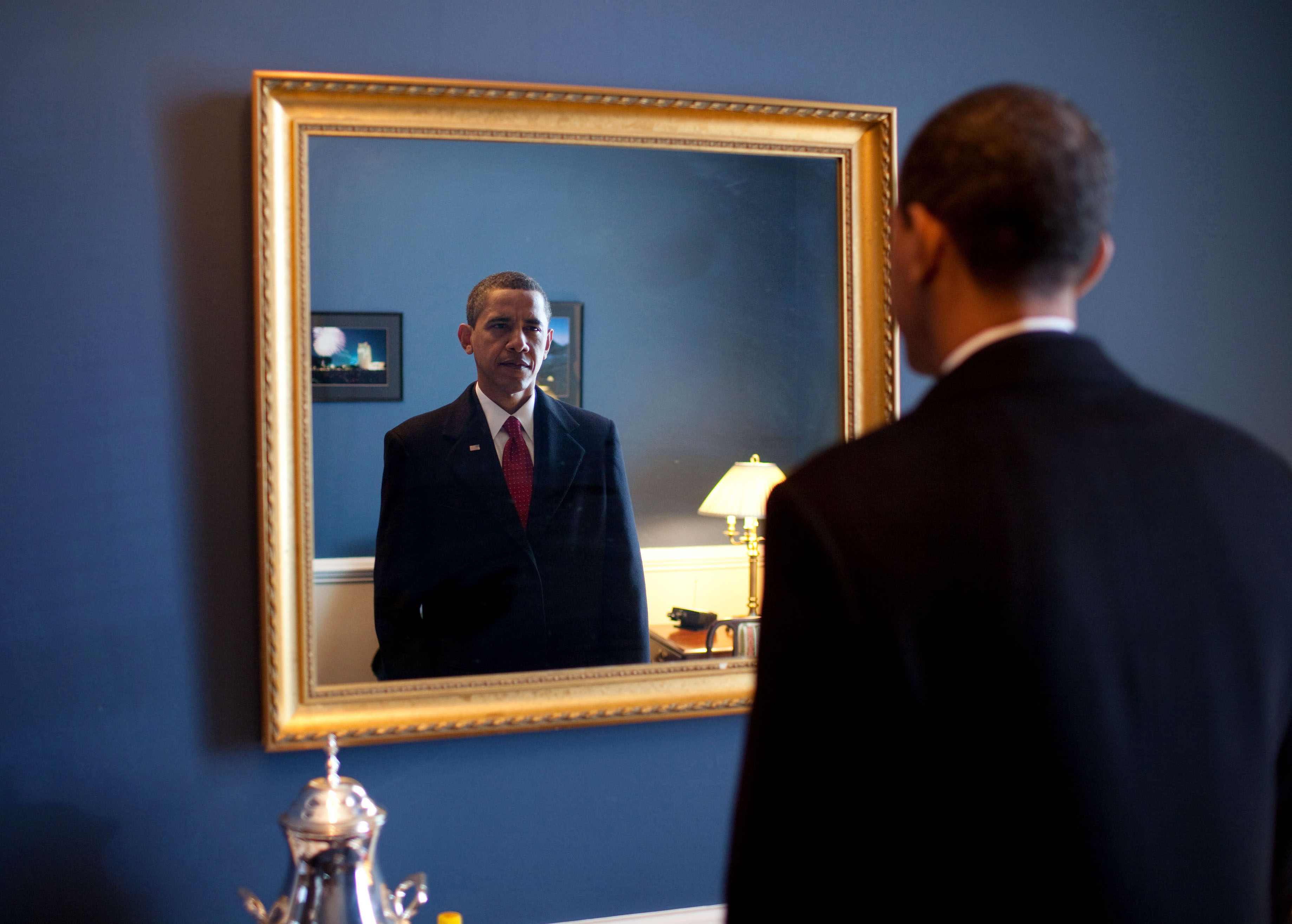 John lewis bathroom mirrors - File Barack Obama Takes One Last Look In The Mirror