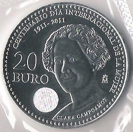 English: Reverse of a 20 Euro coin depicting C...