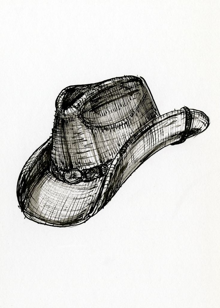 how to draw a realistic cowboy hat