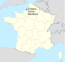 Location of the raid : Dieppe, Seine-Inferieure departement, Upper Normandy Dieppe location.png