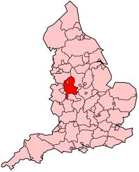 Karta med Staffordshire i England