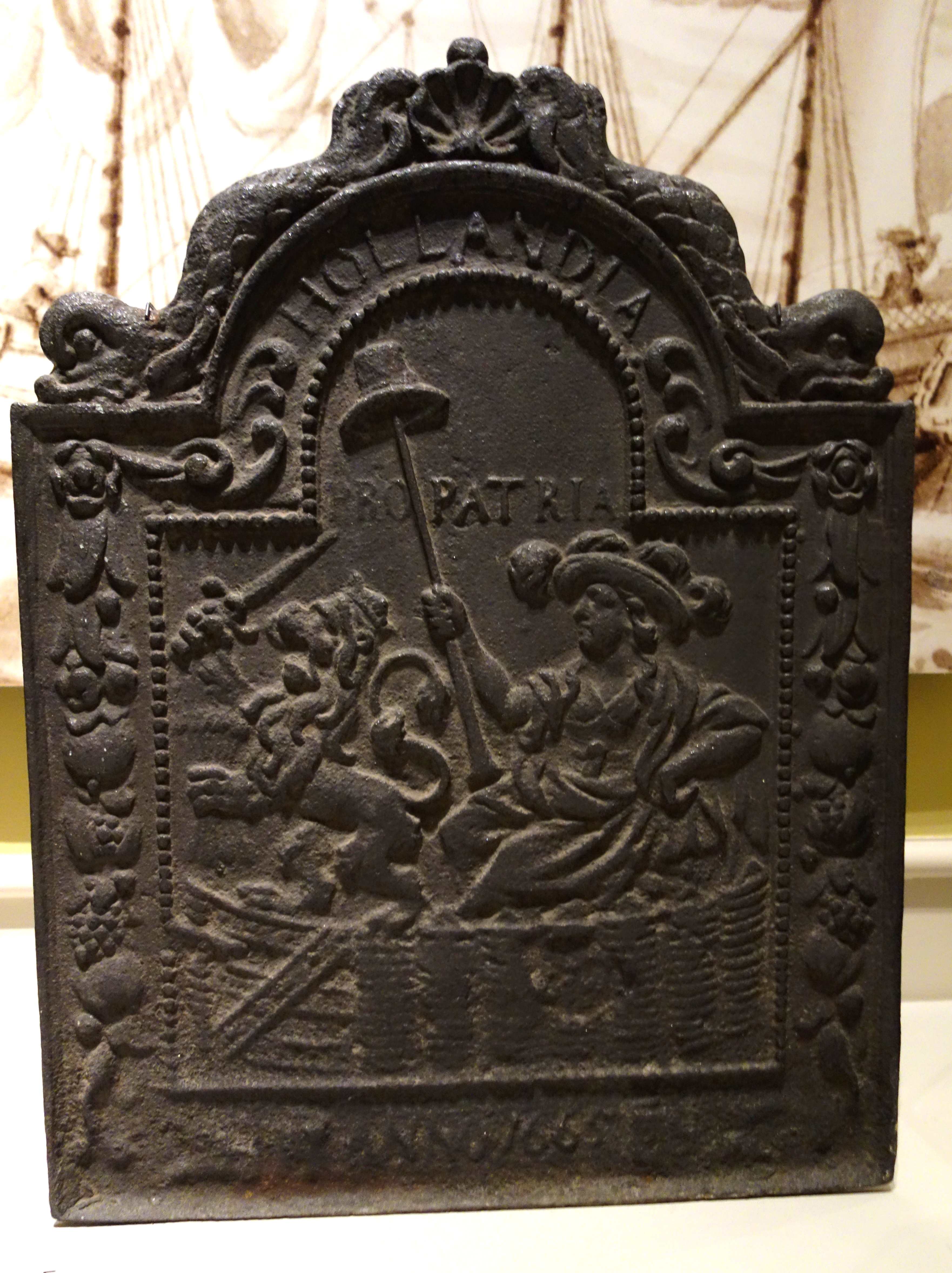 Origin Of Iron ~ File fireback with dutch lion and inscription hollandia