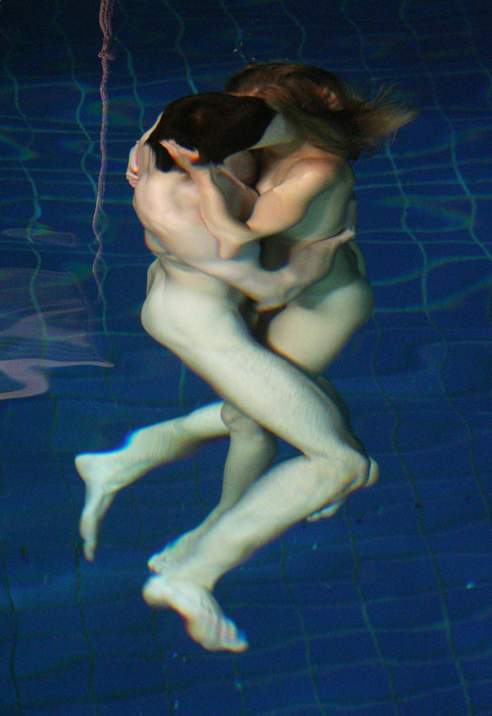 Naked girl under water