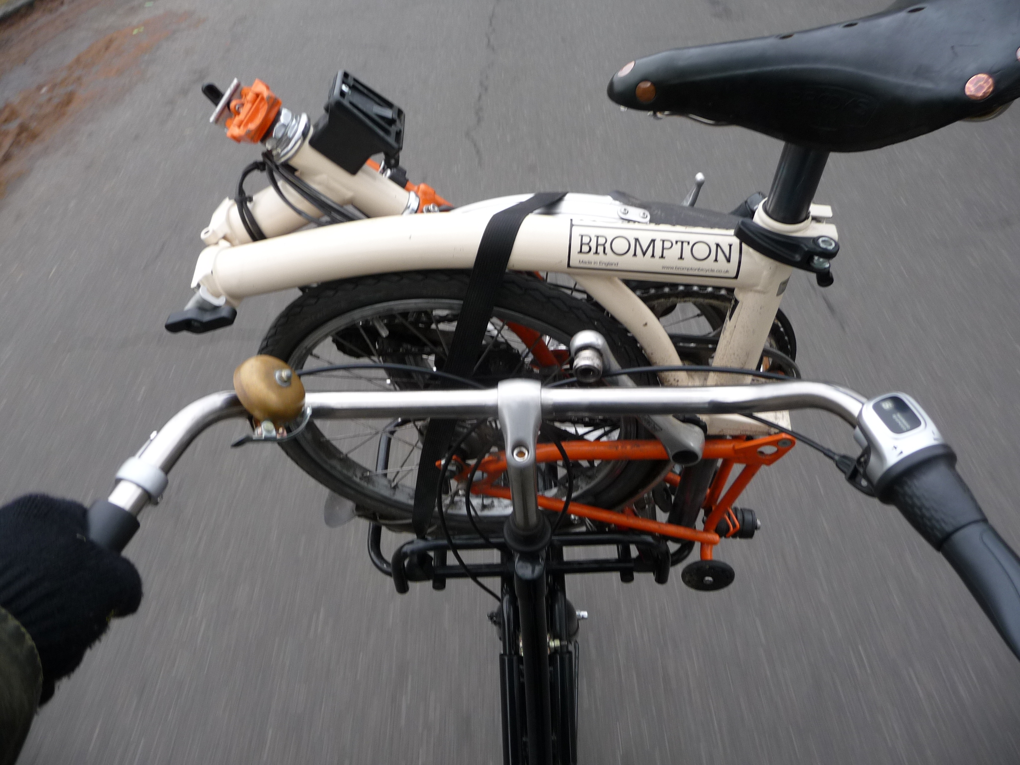 File Folded Brompton Bicycle On Fullsize Bike P1010593 Jpg