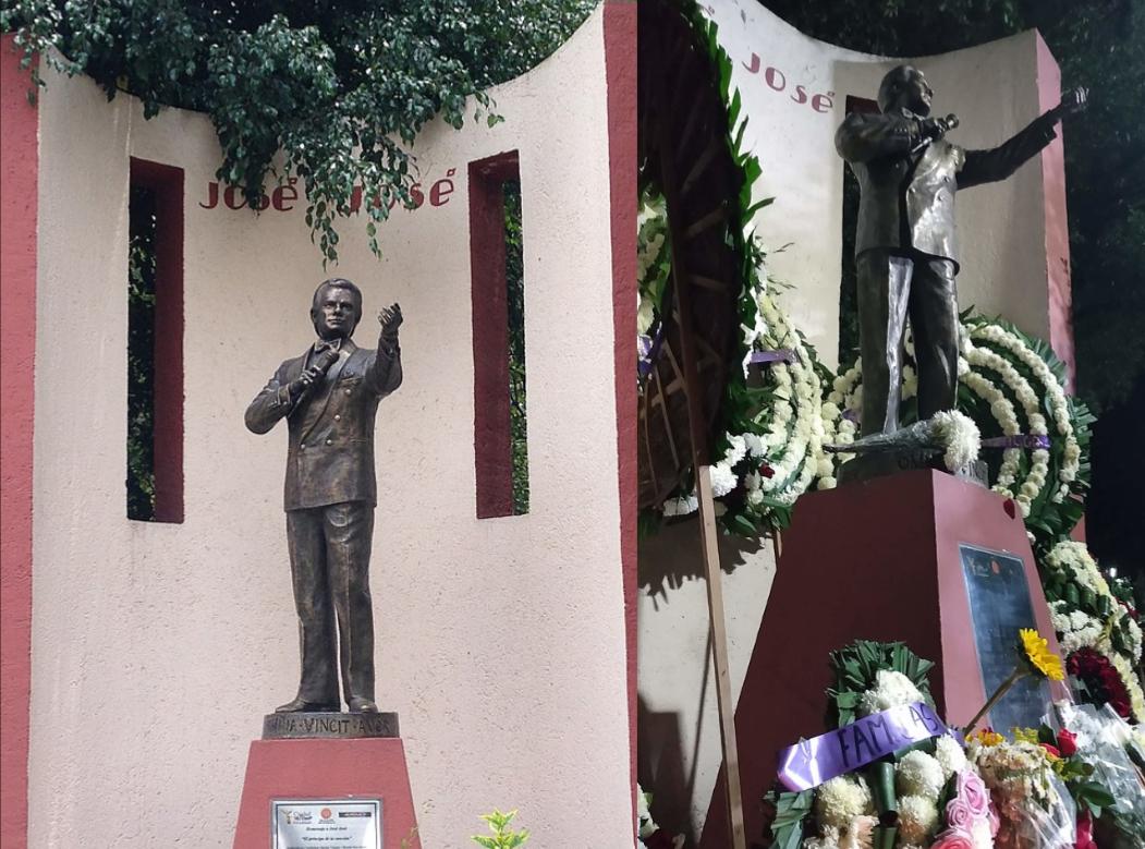 Estatua de José en el Parque de la China ubicada en Clavería, Azcapotzalco, lugar donde nació (izquierda), la estatua adornada con flores tras su fallecimiento en septiembre de 2019 (derecha).