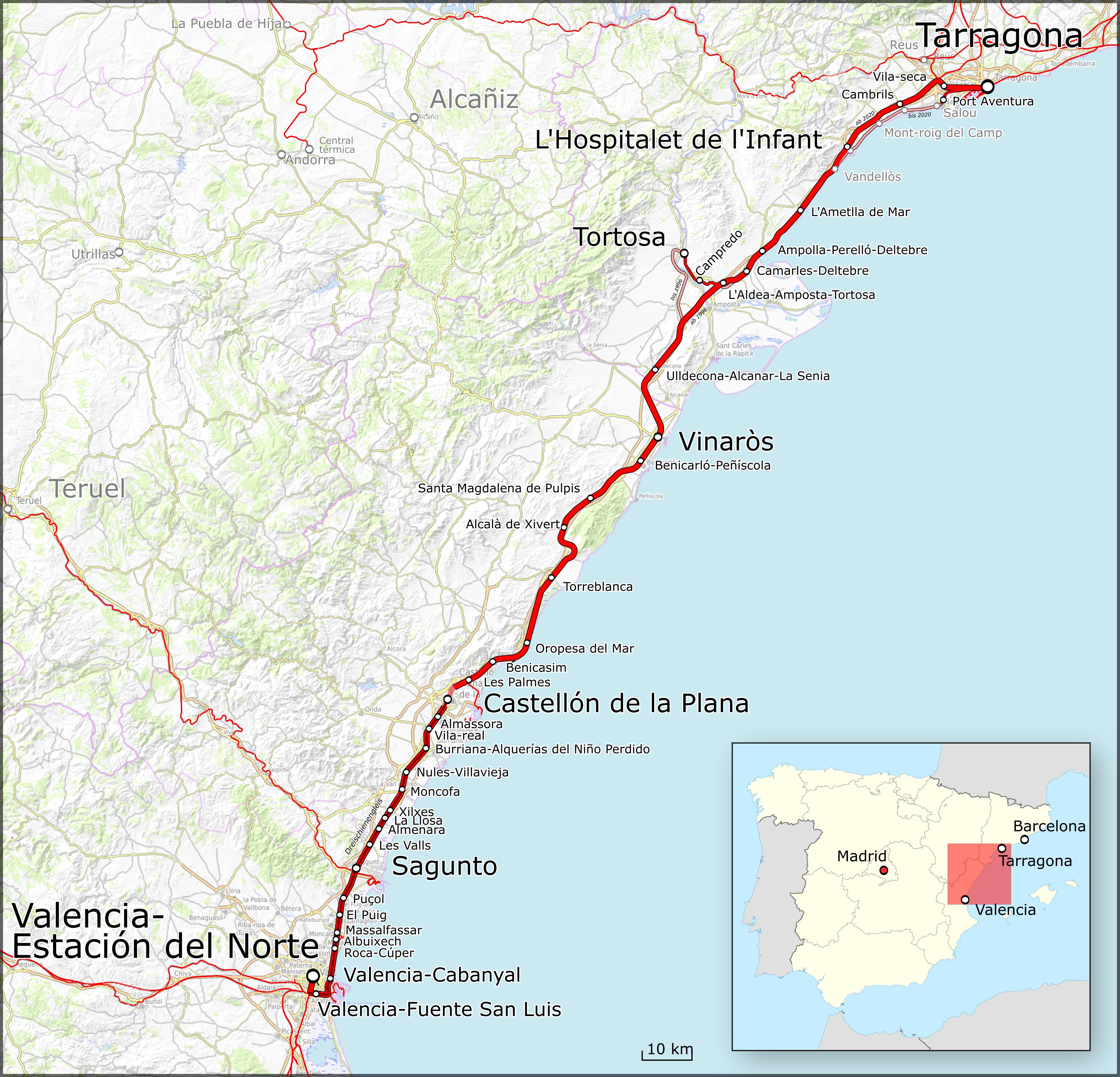 valencia karte File:Karte Bahnstrecke Tarragona–Valencia.png   Wikimedia Commons