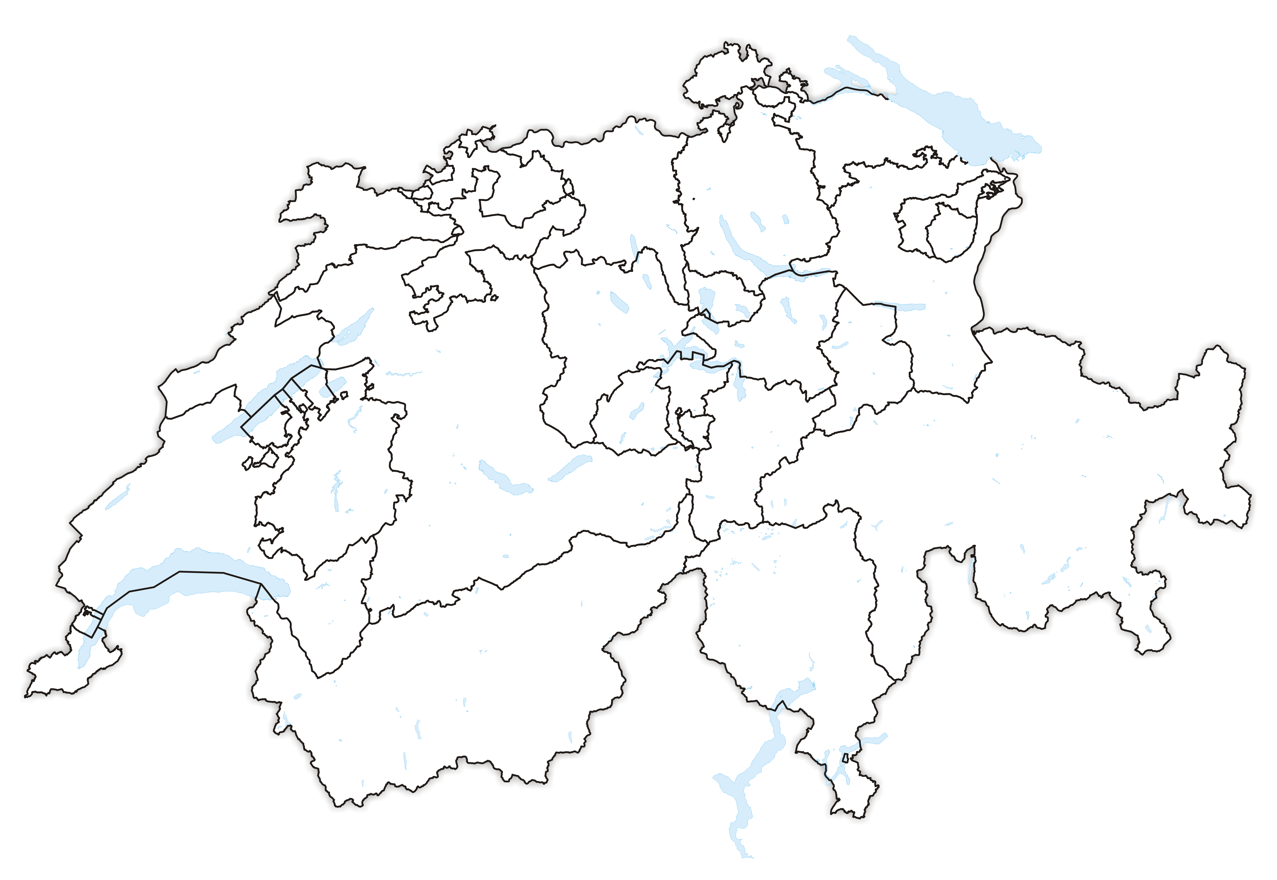 outline map of switzerland