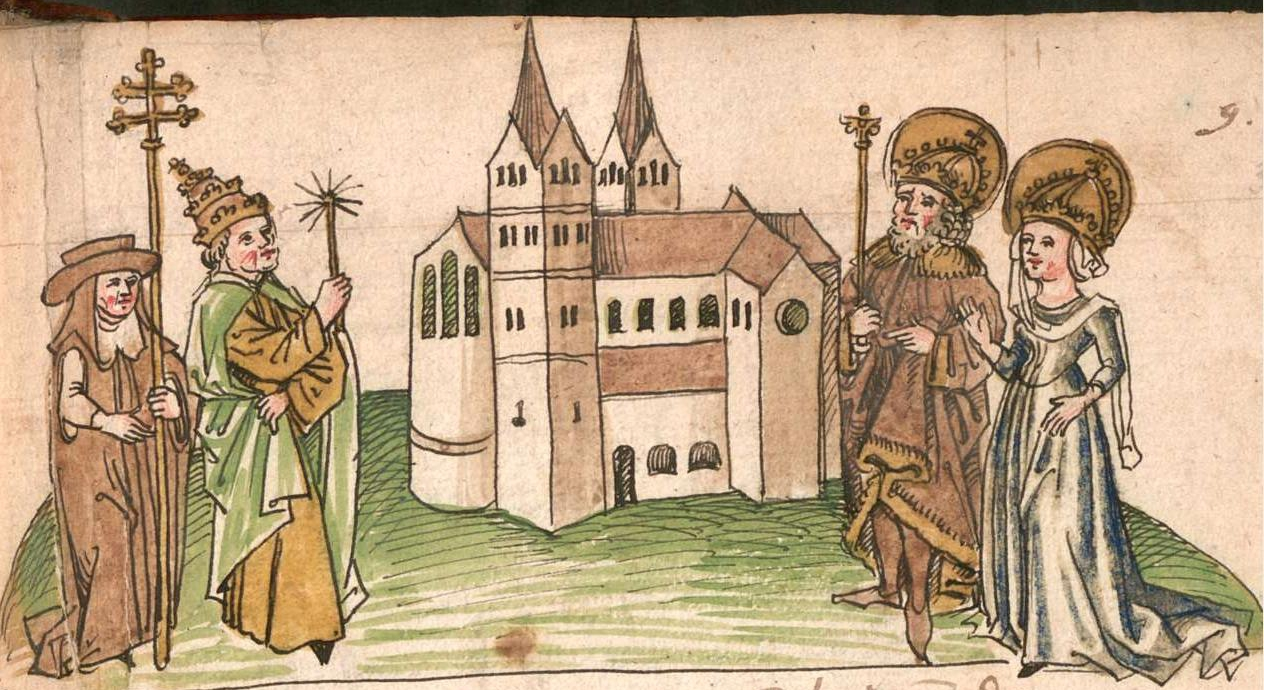 1499 depiction of Charles and Hildegard