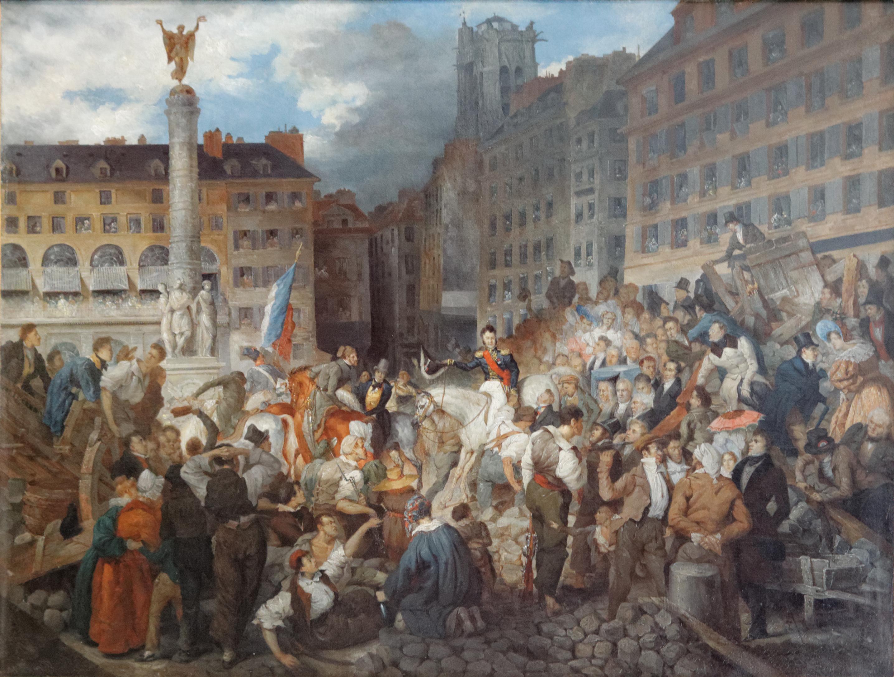 File:Le Duc d'Orléans traversant la place du Châtelet, le 31 juillet 1830  by Prosper Lafaye (Carnavalet P 2355).jpg