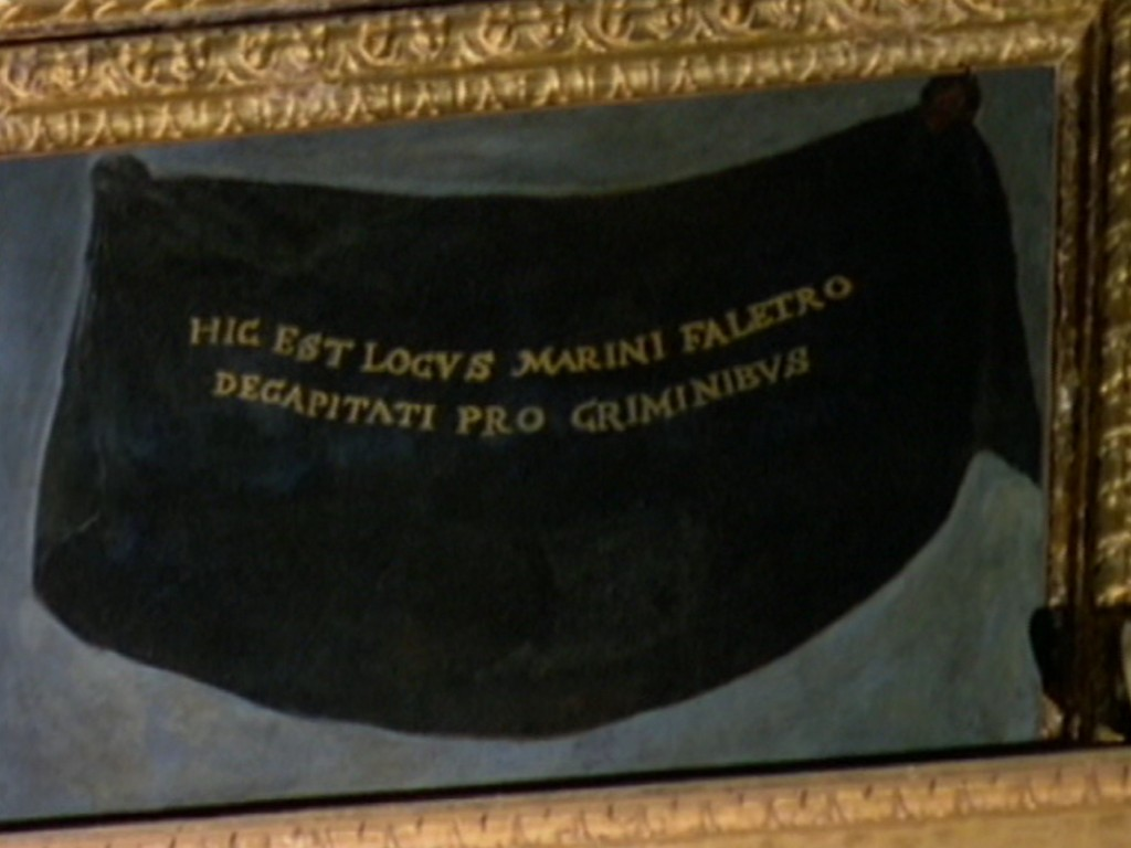 Mario Faliero's portrait is painted over with a black cloth at the Doge's Palace